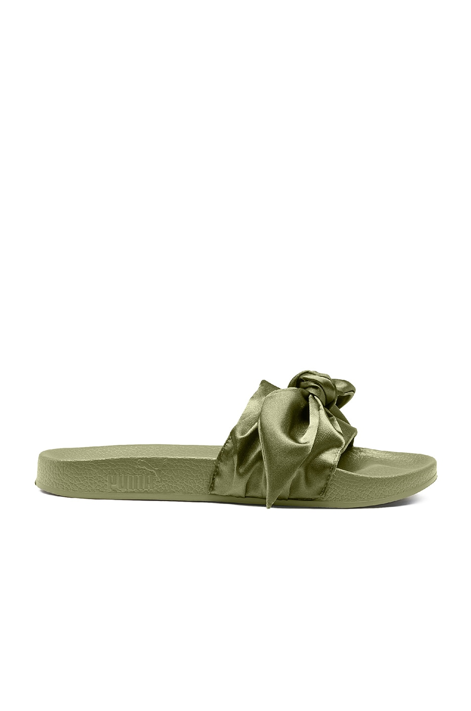 Image 1 of Fenty by Puma Bow Satin Slides in Olive Branch in Olive Brand