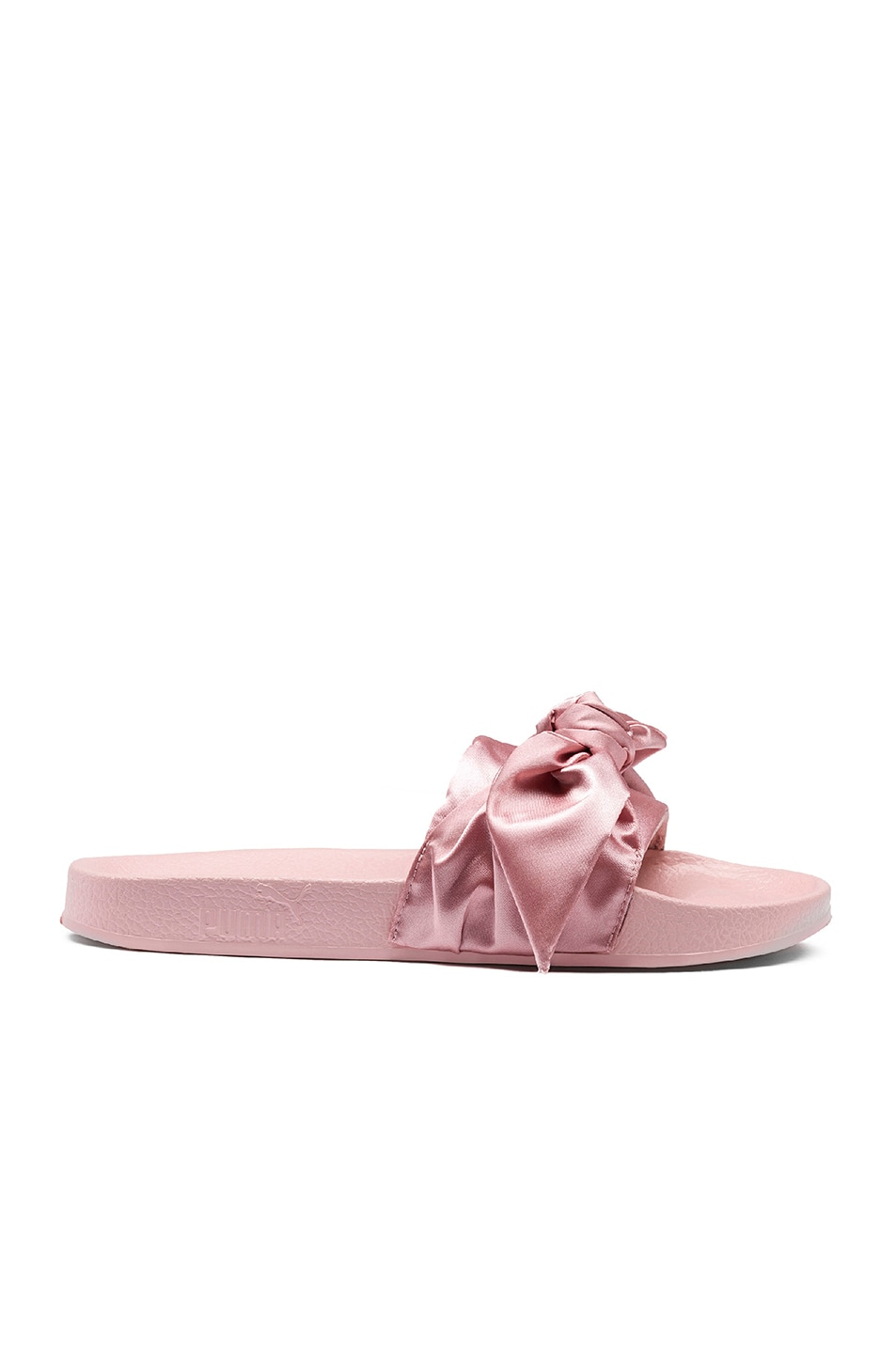 Image 1 of Fenty by Puma Bow Satin Slides in Silver Pink