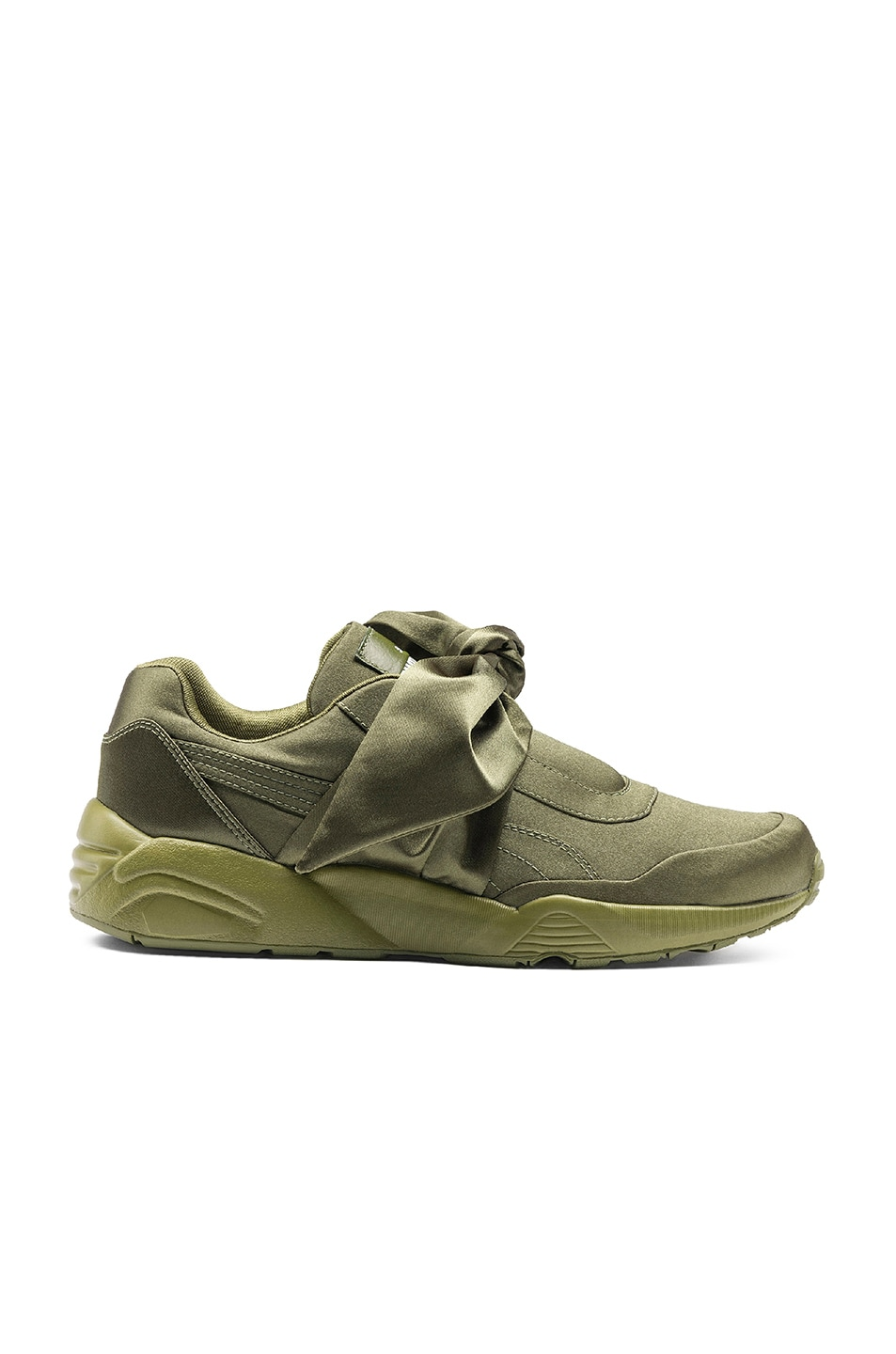 Image 1 of Fenty by Puma Bow Satin Sneakers in Olive Brand