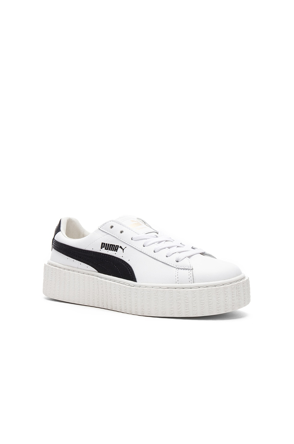 Image 2 of Fenty by Puma Leather Creeper Sneakers in Black & White