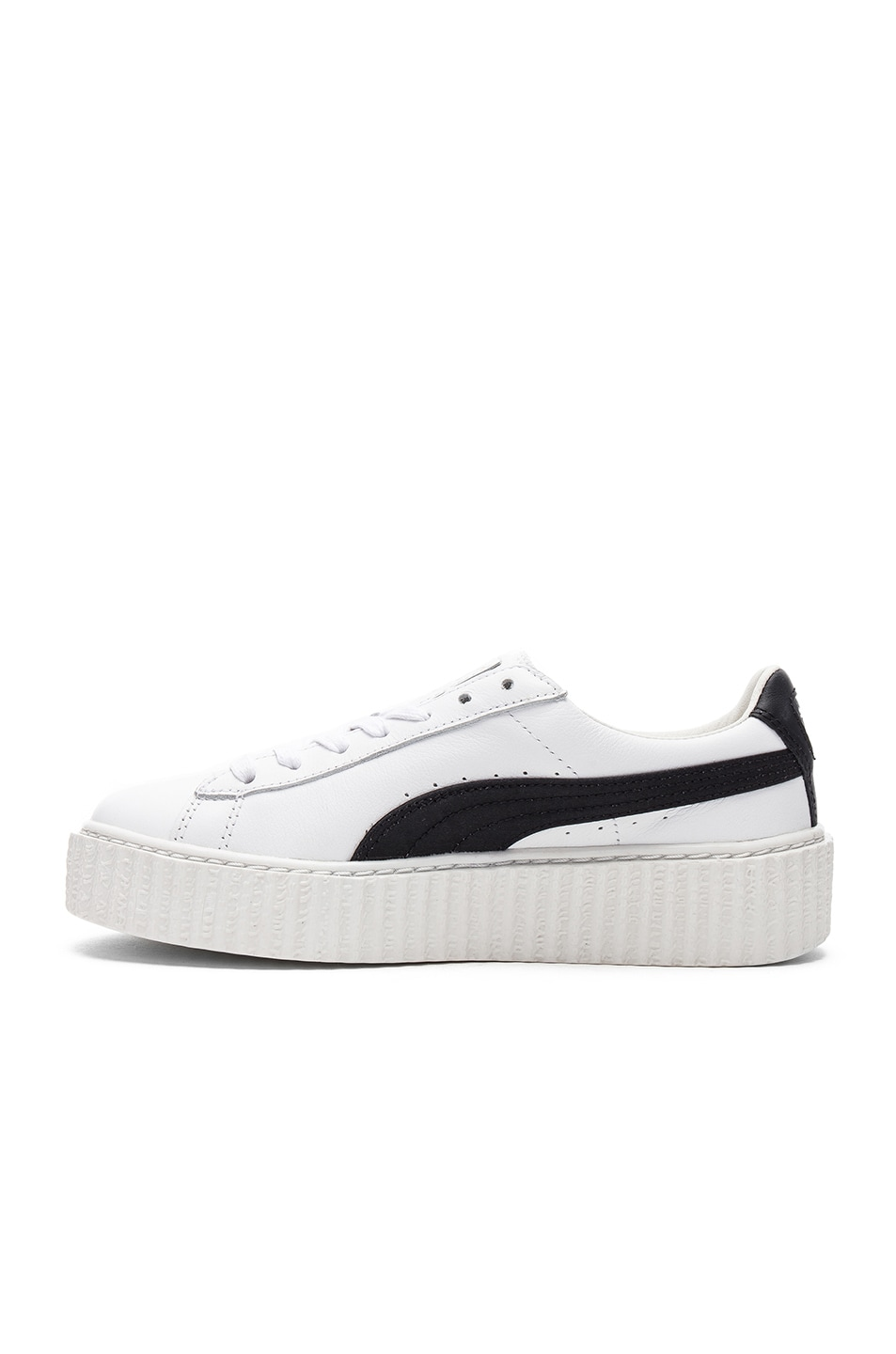 Image 5 of Fenty by Puma Leather Creeper Sneakers in Black & White