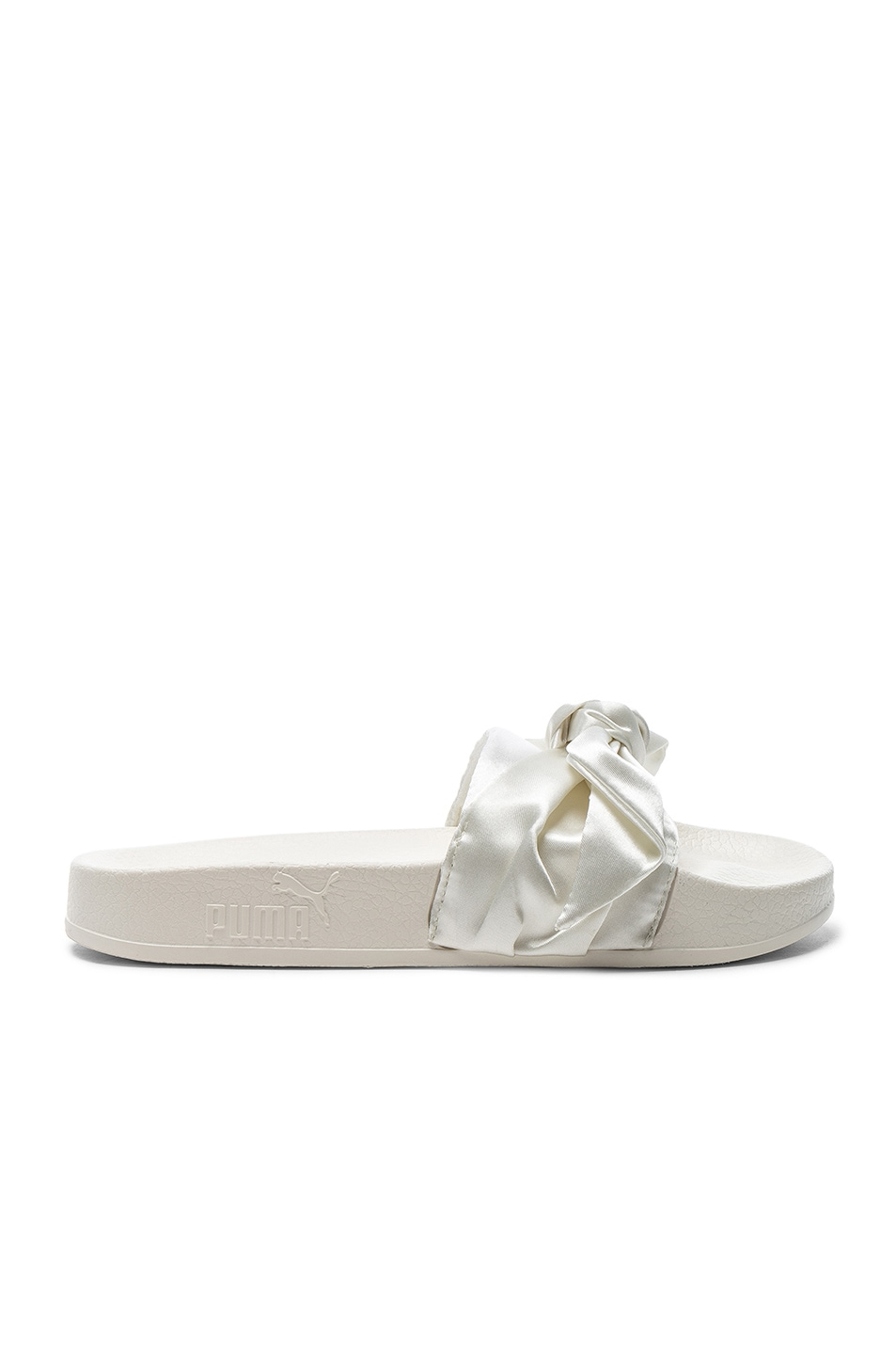 Image 1 of Fenty by Puma Bow Satin Slide Sandals & Silver in Marshmallow