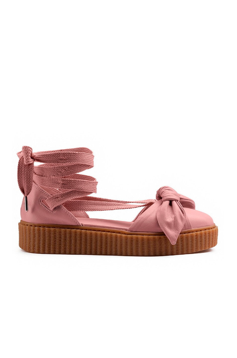 Image 1 of Fenty by Puma Bow Leather Creeper Sandals in Silver Pink & Oatmeal