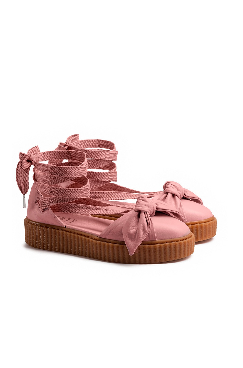 Image 2 of Fenty by Puma Bow Leather Creeper Sandals in Silver Pink & Oatmeal