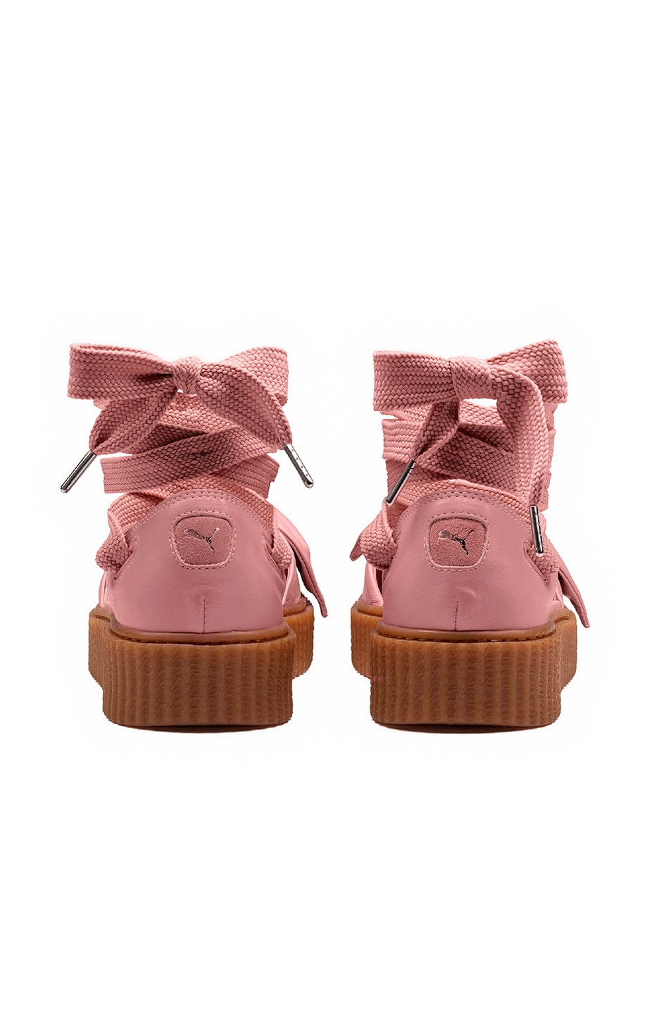 Image 3 of Fenty by Puma Bow Leather Creeper Sandals in Silver Pink & Oatmeal
