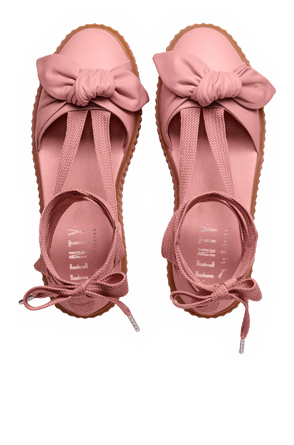 Image 4 of Fenty by Puma Bow Leather Creeper Sandals in Silver Pink & Oatmeal