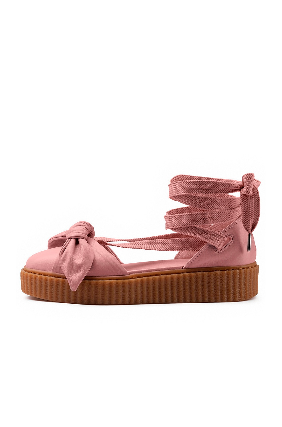 Image 5 of Fenty by Puma Bow Leather Creeper Sandals in Silver Pink & Oatmeal