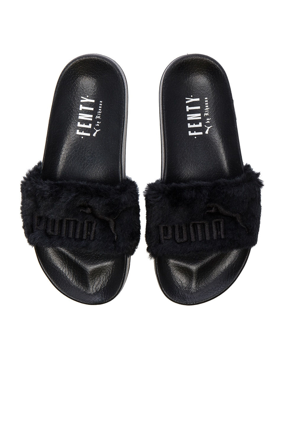 Image 1 of Fenty by Puma Leadcat Faux Fur Slide Sandals in Black   Silver 46c9462d38