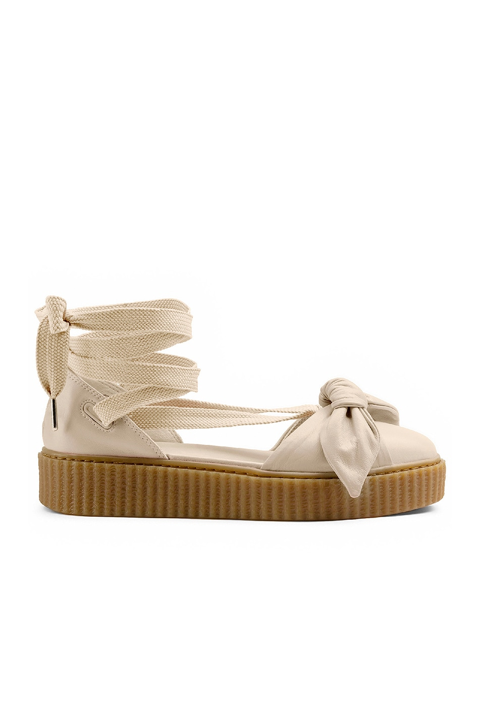 Image 1 of Fenty by Puma Bow Leather Creeper Sandals in Pink Tink & Oatmeal