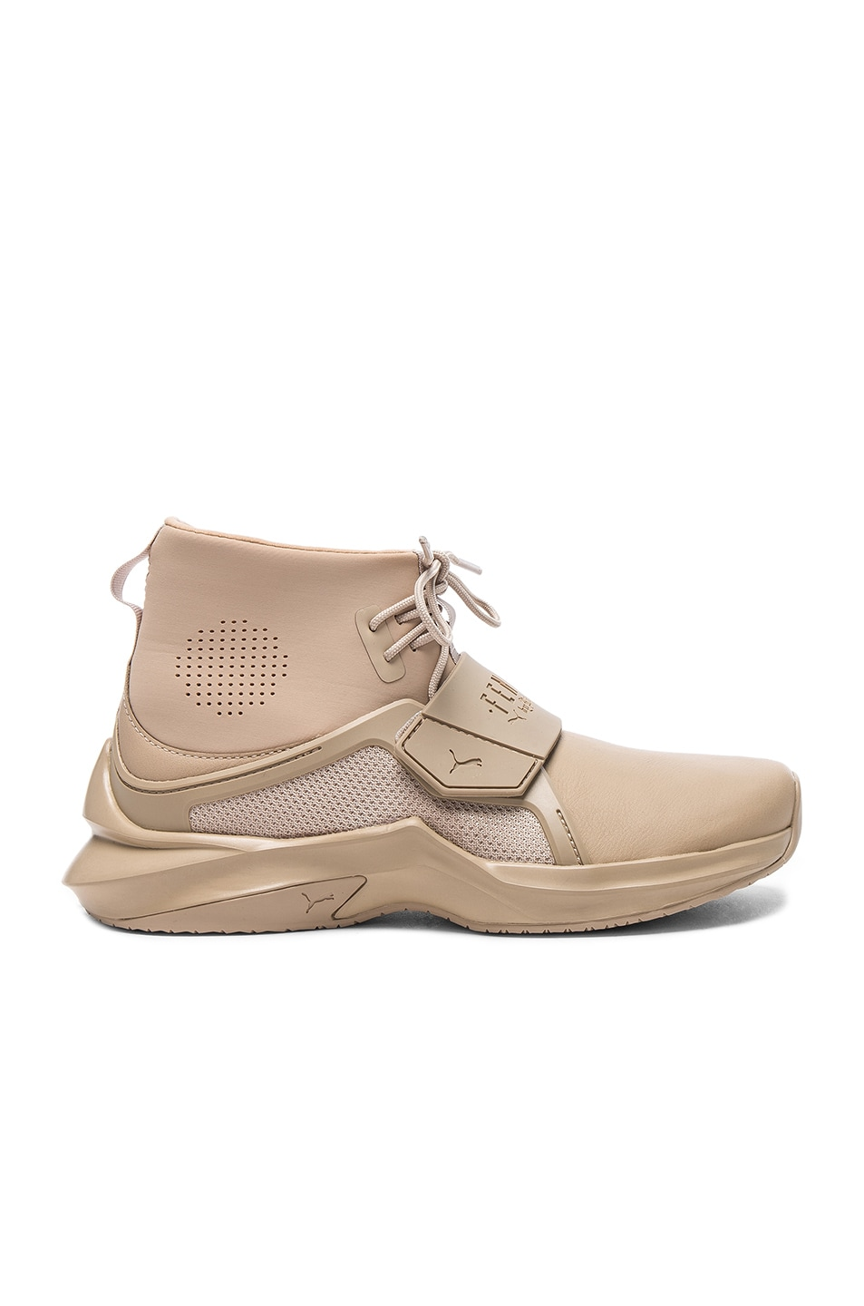 Image 1 of Fenty by Puma Leather Trainer Sneakers in Sesame