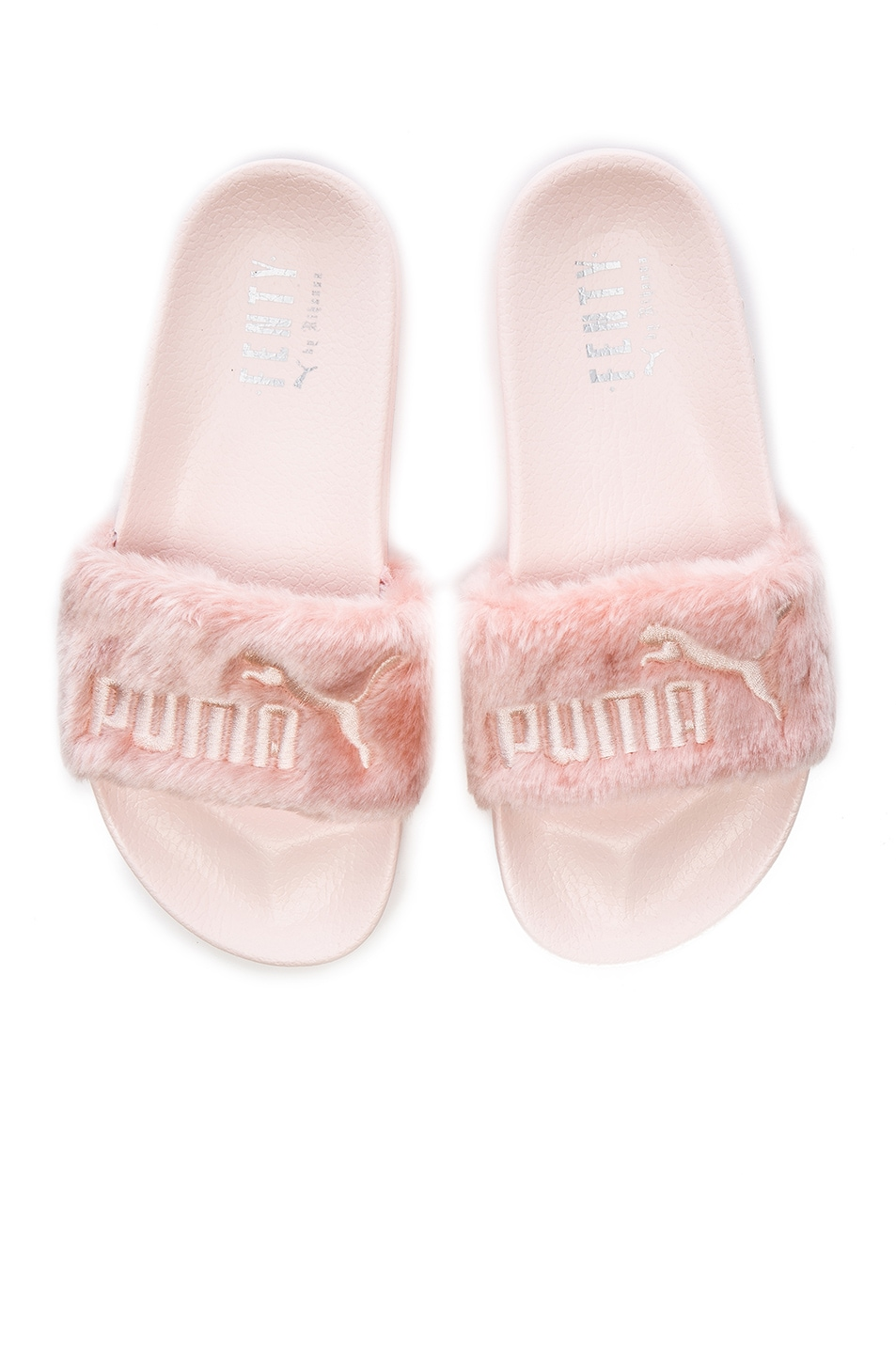 Image 1 of Fenty by Puma Leadcat Faux Fur Slide Sandals in Shell & Silver