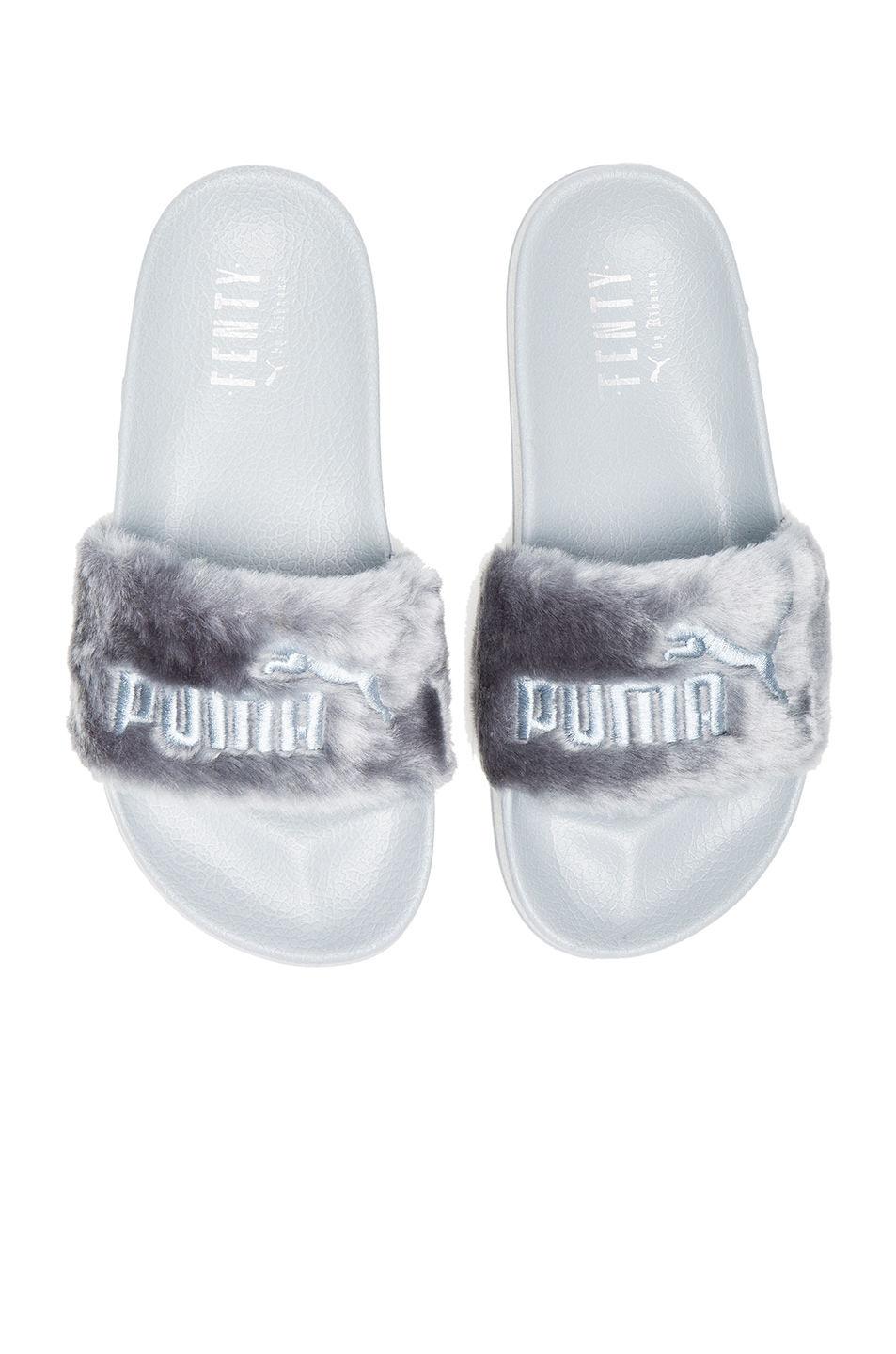 Image 1 of Fenty by Puma Leadcat Faux Fur Slide Sandals in Quarry & Silver