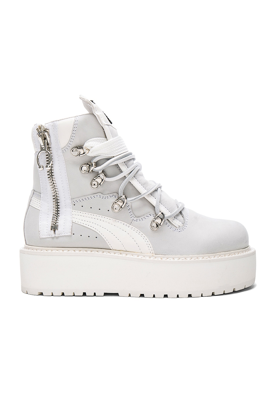 Image 1 of Fenty by Puma Leather Sneaker Boots in White