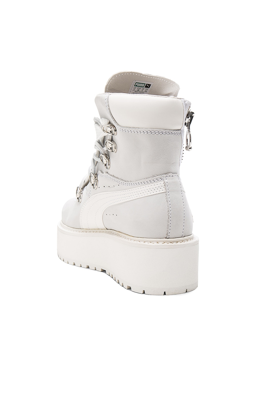 Image 3 of Fenty by Puma Leather Sneaker Boots in White