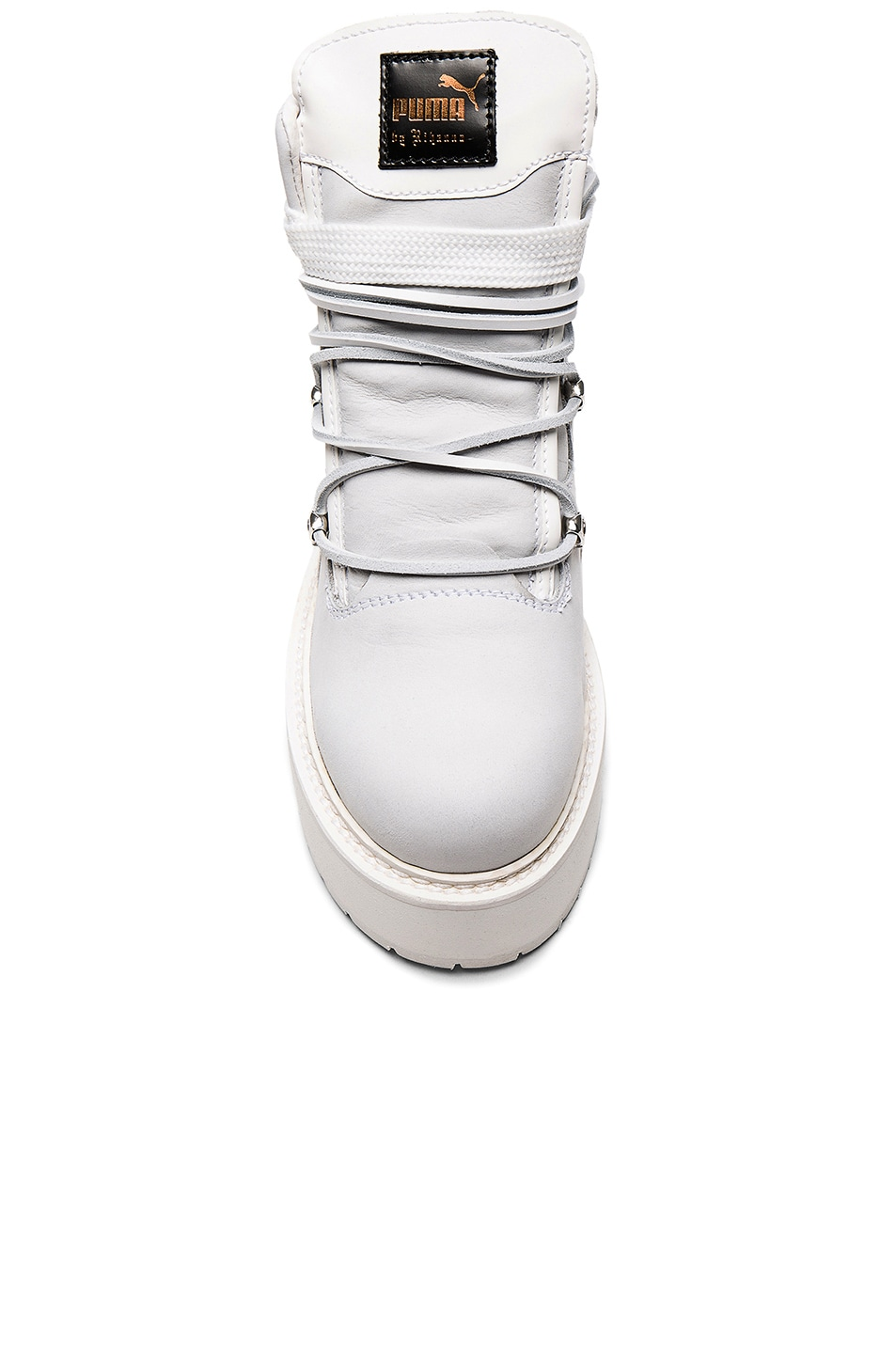 Image 4 of Fenty by Puma Leather Sneaker Boots in White