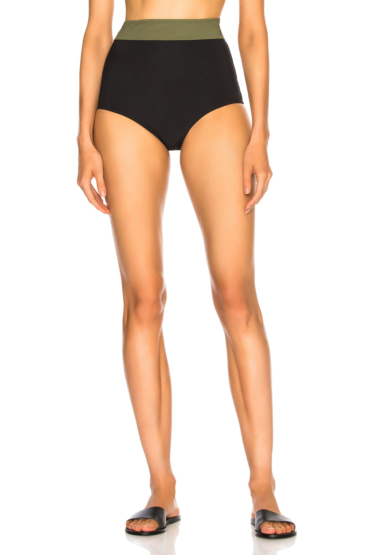 Image 1 of FLAGPOLE Arden High Rise Bikini Bottom in Black & Olive