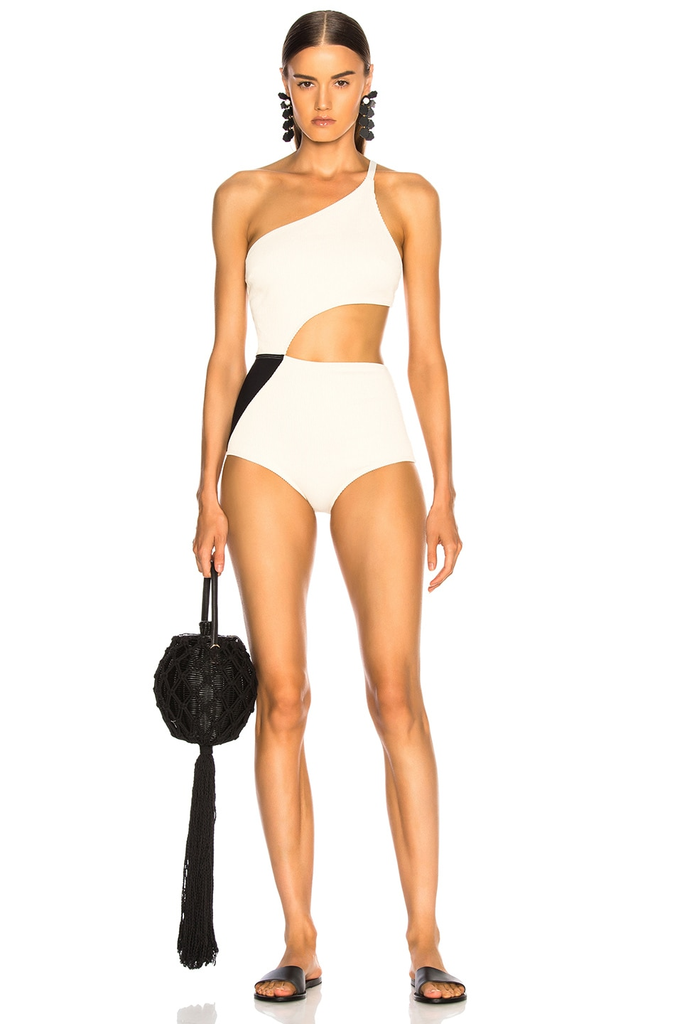 Image 1 of FLAGPOLE Ali Swimsuit in Lychee Rib & Black