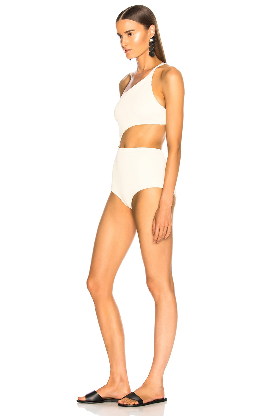 Image 3 of FLAGPOLE Ali Swimsuit in Lychee Rib & Black