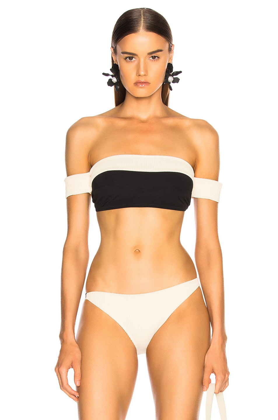 Image 1 of FLAGPOLE Arden Bikini Top in Lychee Rib & Black