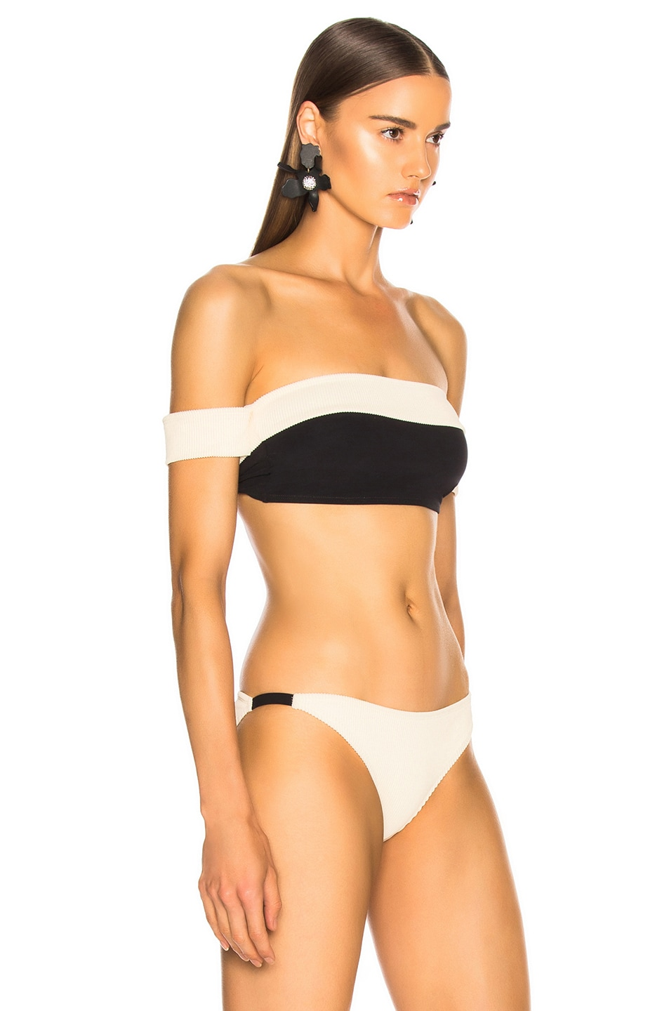 Image 2 of FLAGPOLE Arden Bikini Top in Lychee Rib & Black