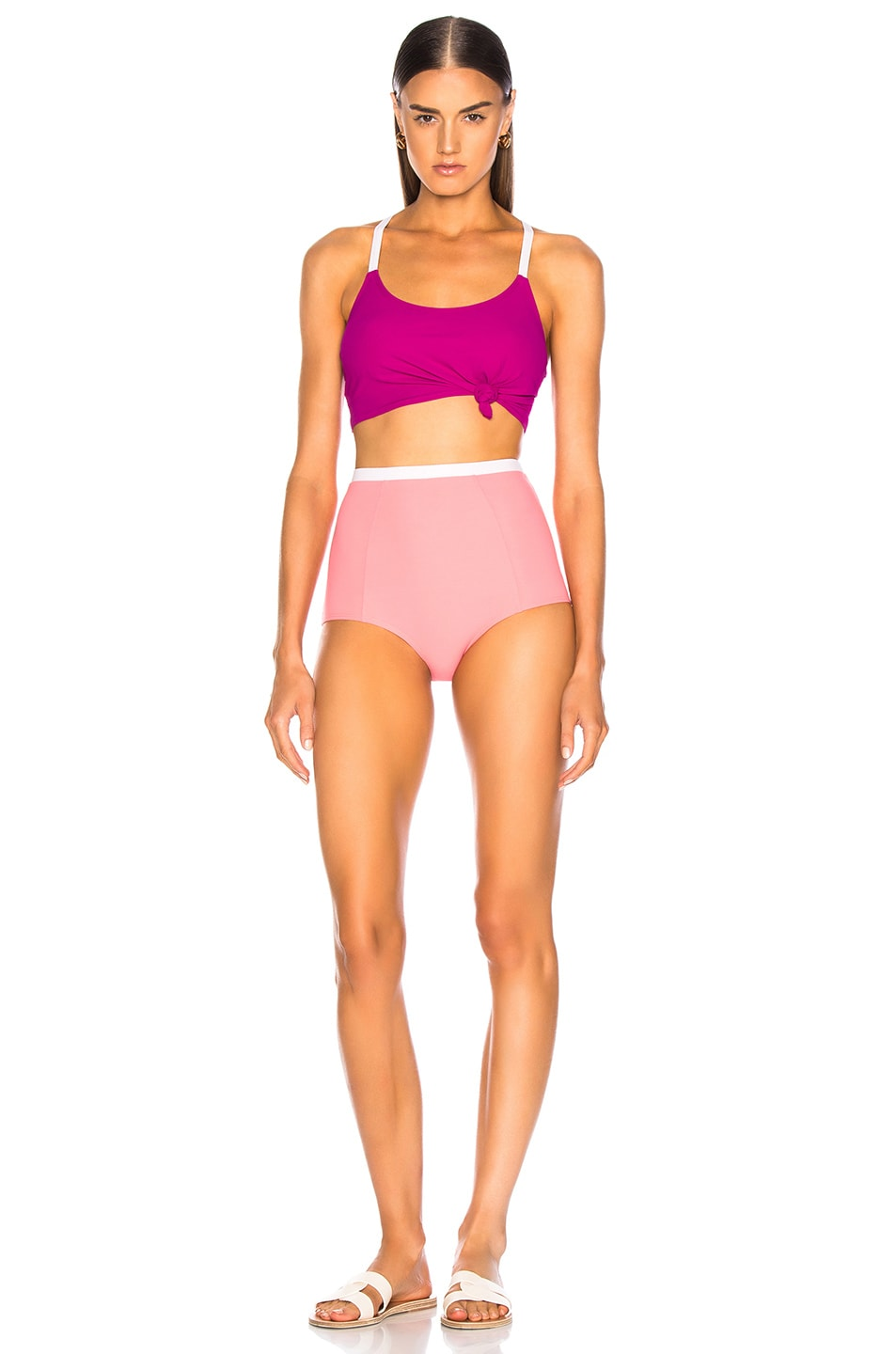 Image 4 of FLAGPOLE Knotted Bikini Top in Magenta
