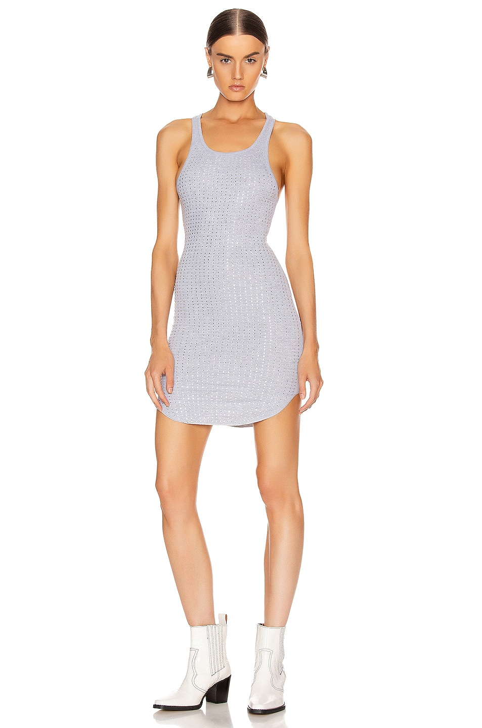 Image 1 of Frankie B Shea Crystals Tank Mini Dress in Heather Grey