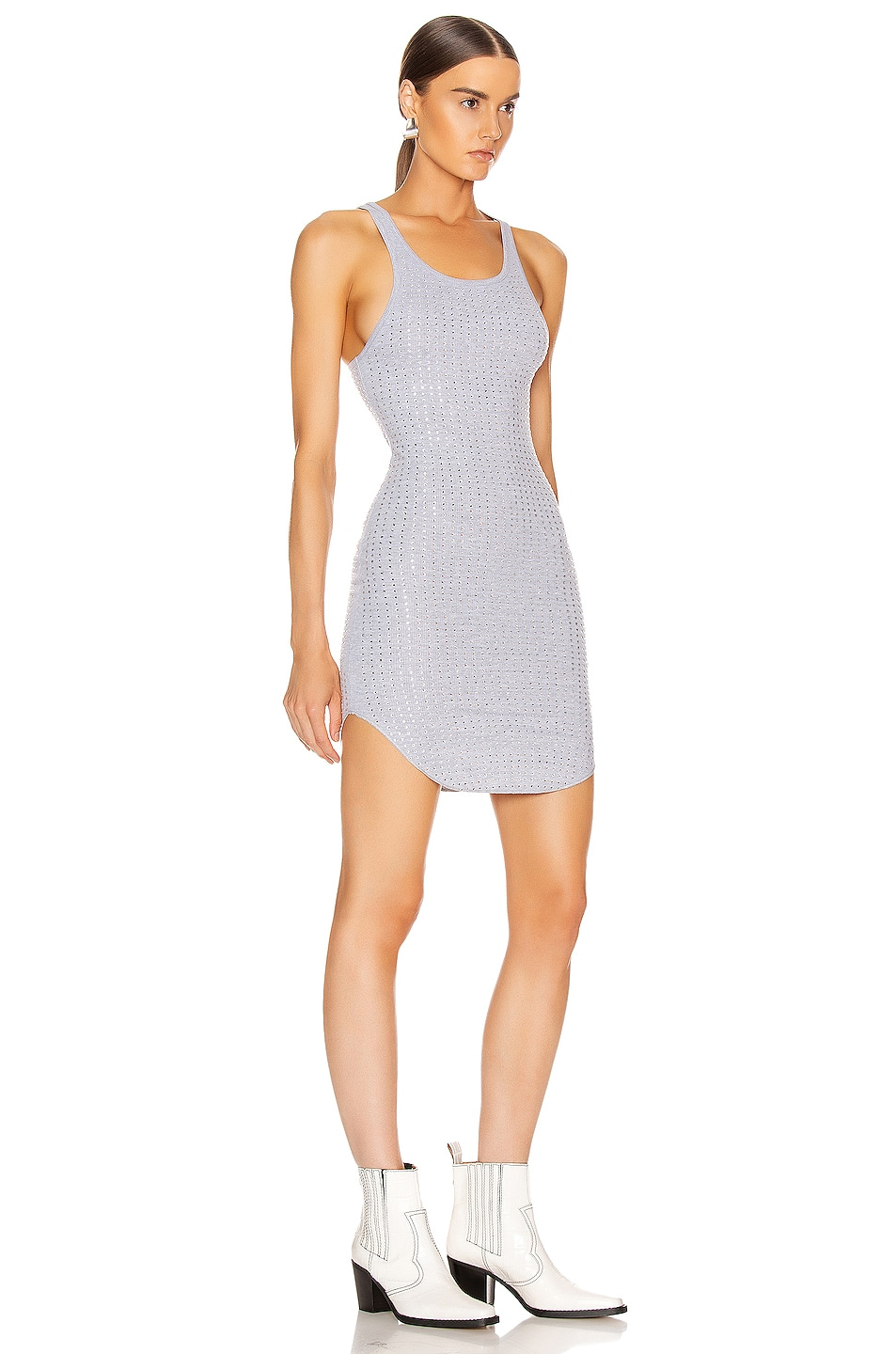 Image 2 of Frankie B Shea Crystals Tank Mini Dress in Heather Grey