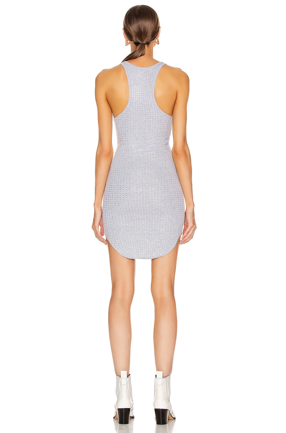 Image 3 of Frankie B Shea Crystals Tank Mini Dress in Heather Grey