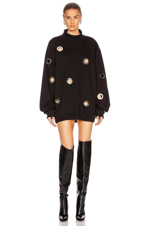 Image 1 of Frankie B Jordy Eyelet Mock Neck Sweatshirt Dress in Black