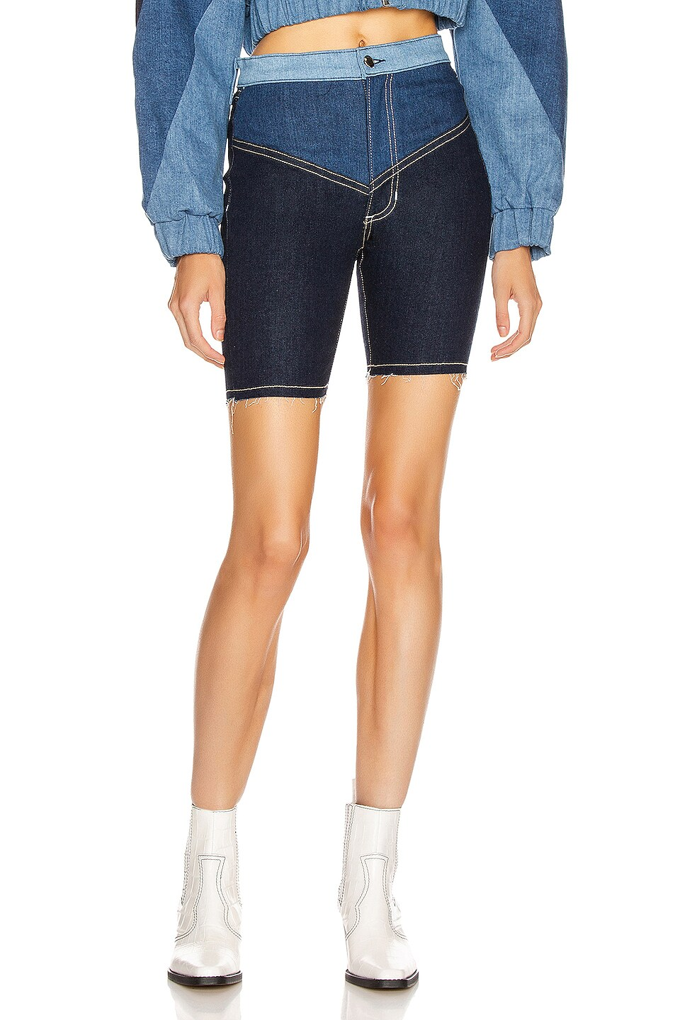 Image 1 of Frankie B Gigi Denim Biker Shorts in Indigo