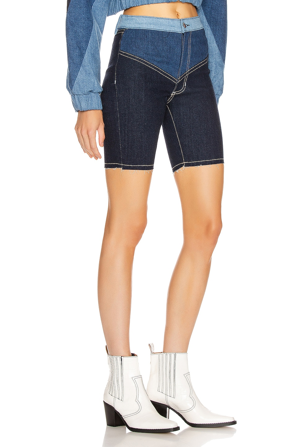 Image 2 of Frankie B Gigi Denim Biker Shorts in Indigo