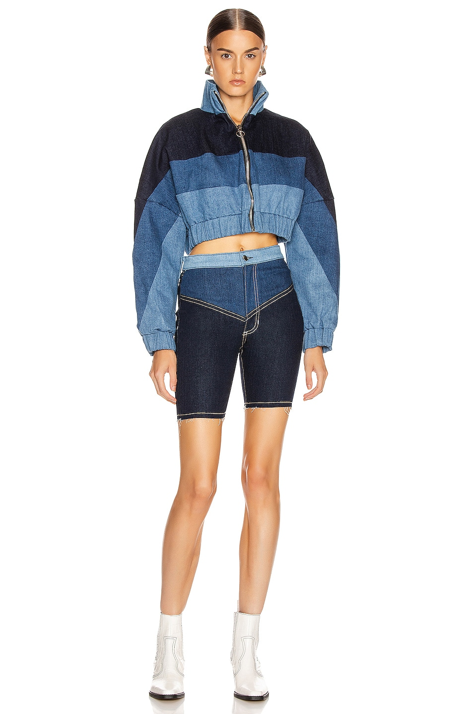 Image 4 of Frankie B Gigi Denim Biker Shorts in Indigo