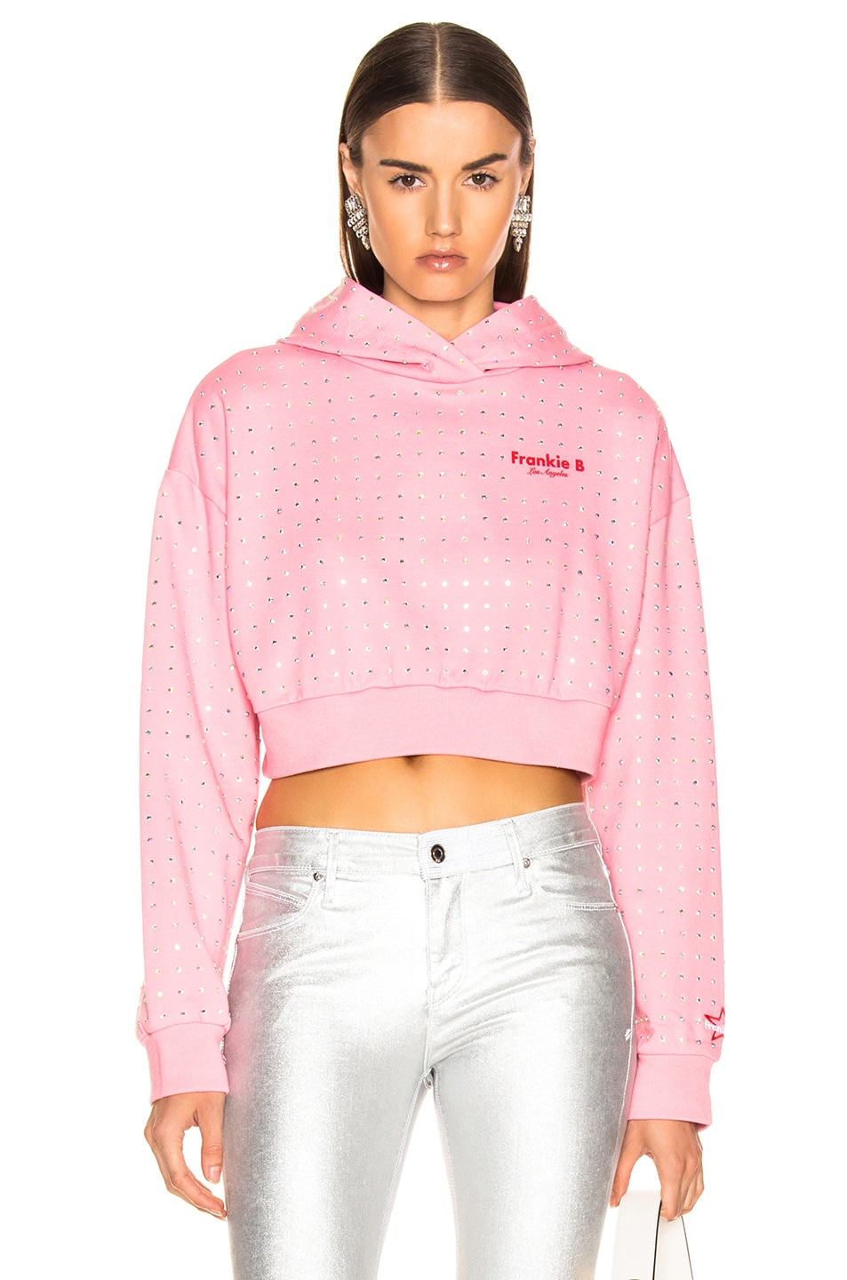 Image 1 of Frankie B All Over Rhinestone Hoodie in Pink