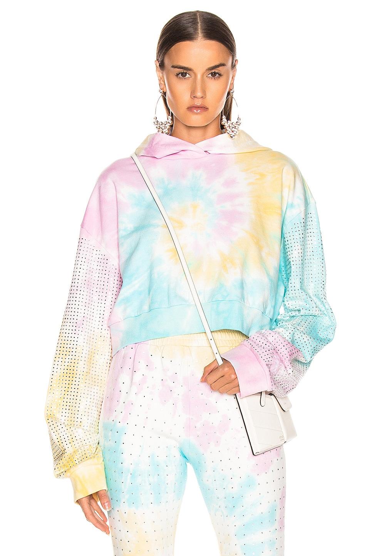 Image 1 of Frankie B Kylie Crystal Crop Hoodie in Tie Dye