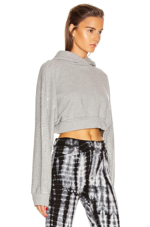 Image 2 of Frankie B Kylie Crystal Sleeves Cropped Hoodie in Heather Grey