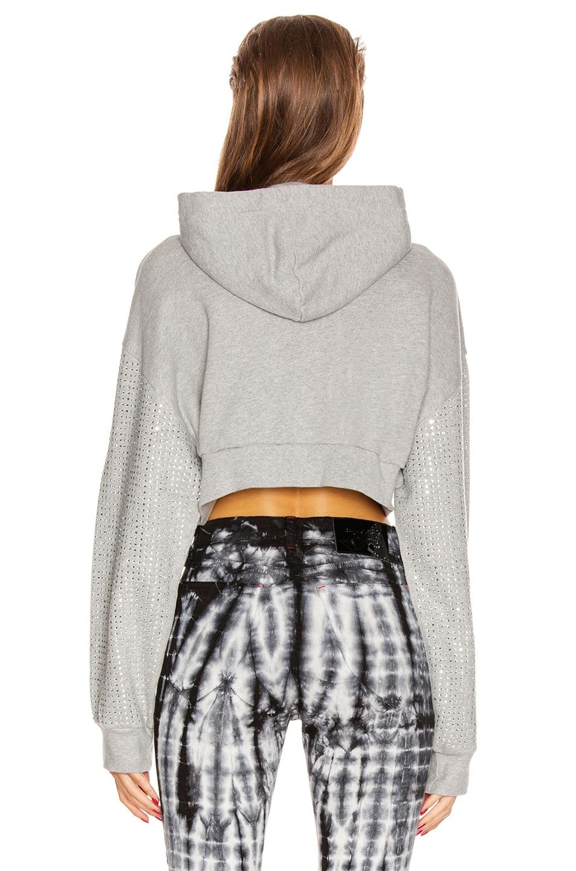 Image 3 of Frankie B Kylie Crystal Sleeves Cropped Hoodie in Heather Grey