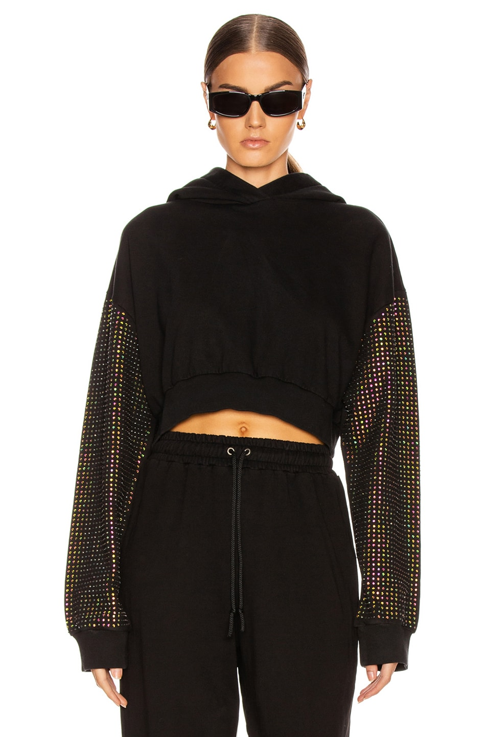 Image 1 of Frankie B Kylie Crystal Sleeves Cropped Hoodie in Black