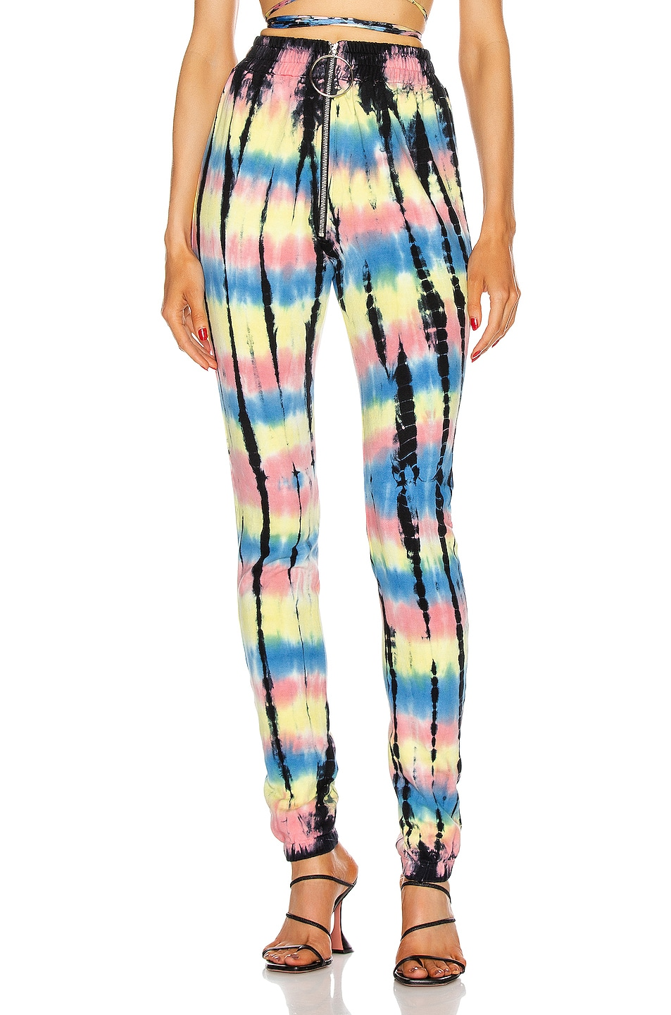 Image 1 of Frankie B Alaina Ring Zip High Rise Sweatpants in Tiger