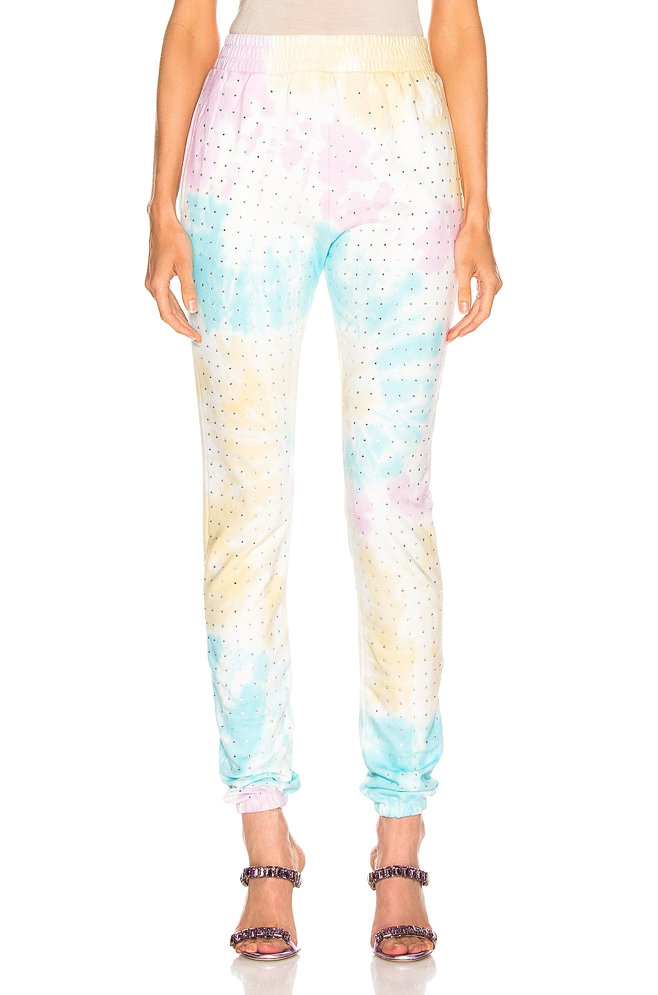 Image 1 of Frankie B Kendall High Rise Crystal Sweatpant in Tie Dye