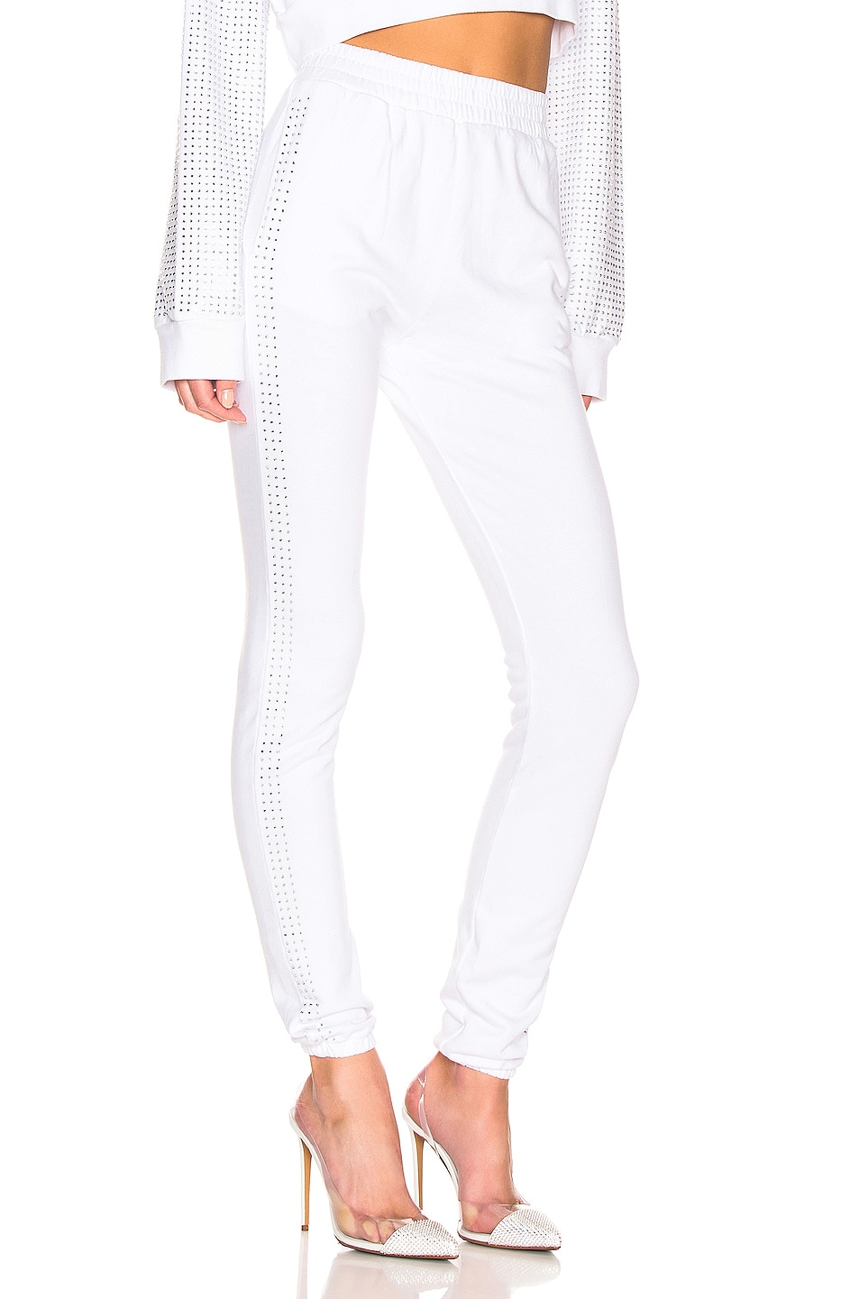 Image 2 of Frankie B Kendall Crystal Racing Stripe Sweatpant in Bone