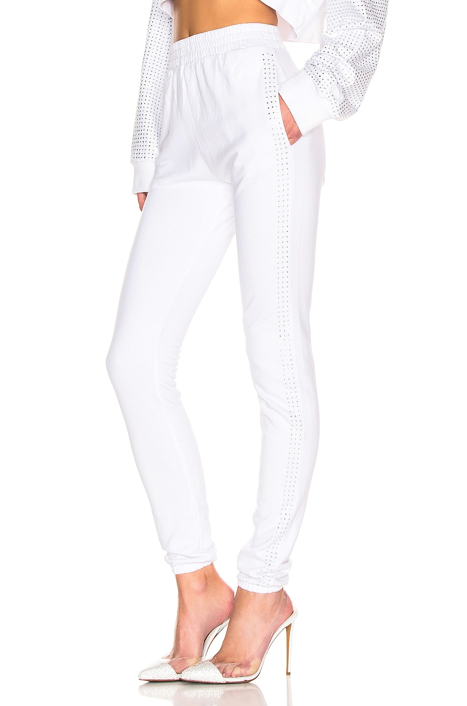 Image 3 of Frankie B Kendall Crystal Racing Stripe Sweatpant in Bone