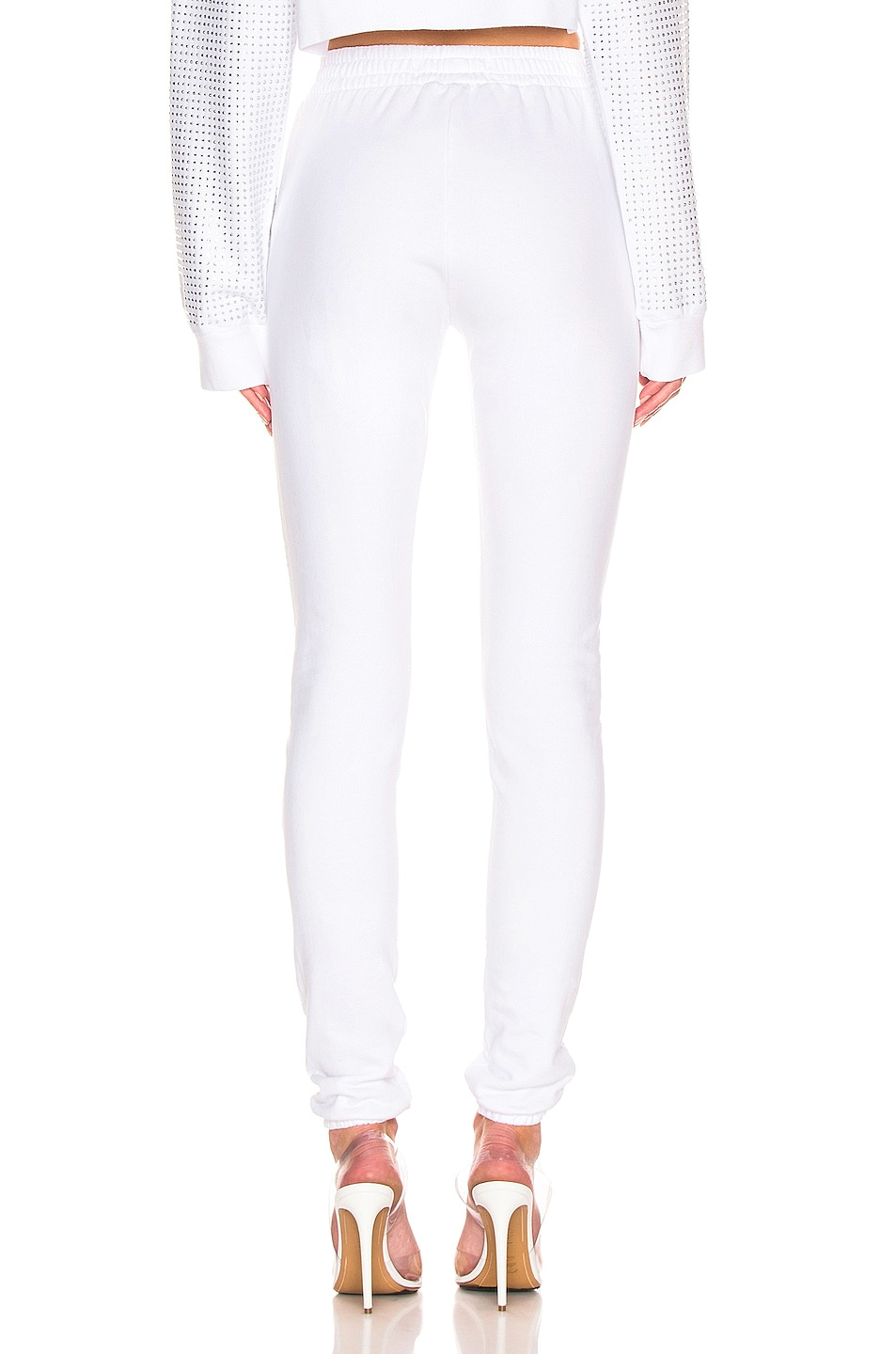 Image 4 of Frankie B Kendall Crystal Racing Stripe Sweatpant in Bone