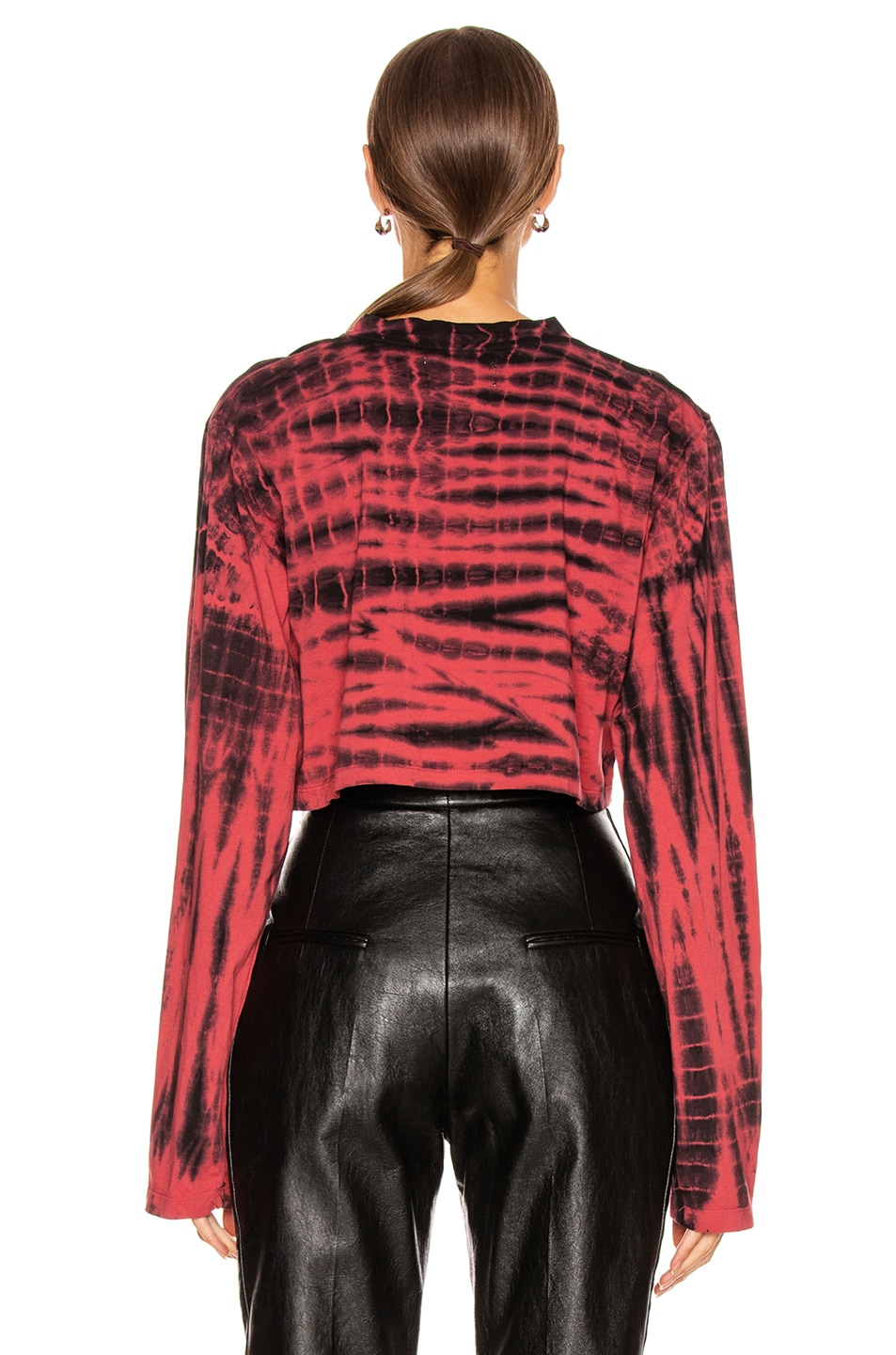 Image 3 of Frankie B Jenny Cropped Long Sleeve Tee in Red & Black Tie Dye