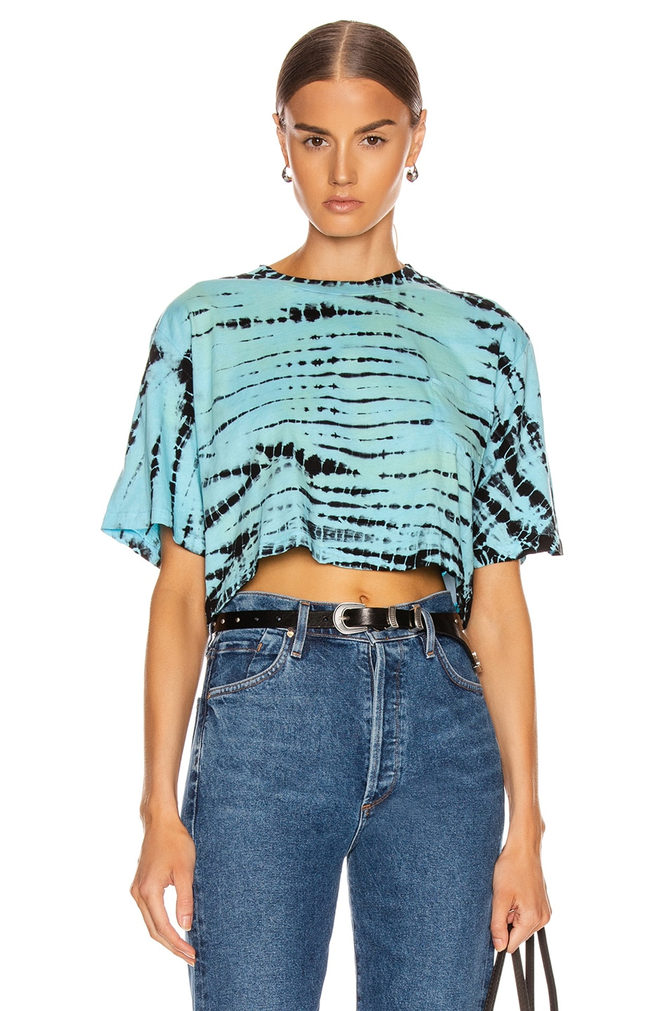 Image 1 of Frankie B Naomi Cropped Short Sleeve Tee in Turquoise & Black Tie Dye