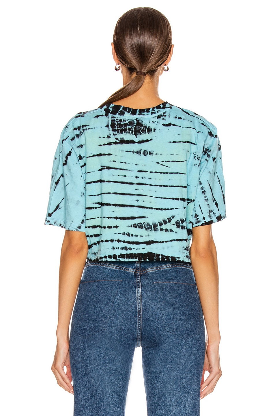 Image 3 of Frankie B Naomi Cropped Short Sleeve Tee in Turquoise & Black Tie Dye