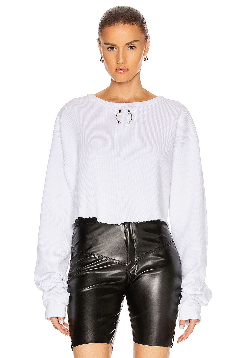 Image 1 of Frankie B Gwen Bull Ring Thermal Shirt in White