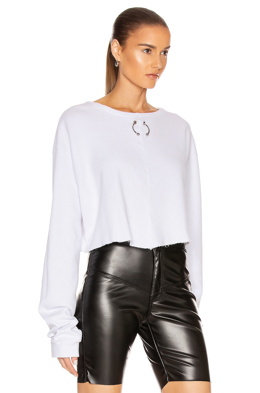 Image 2 of Frankie B Gwen Bull Ring Thermal Shirt in White