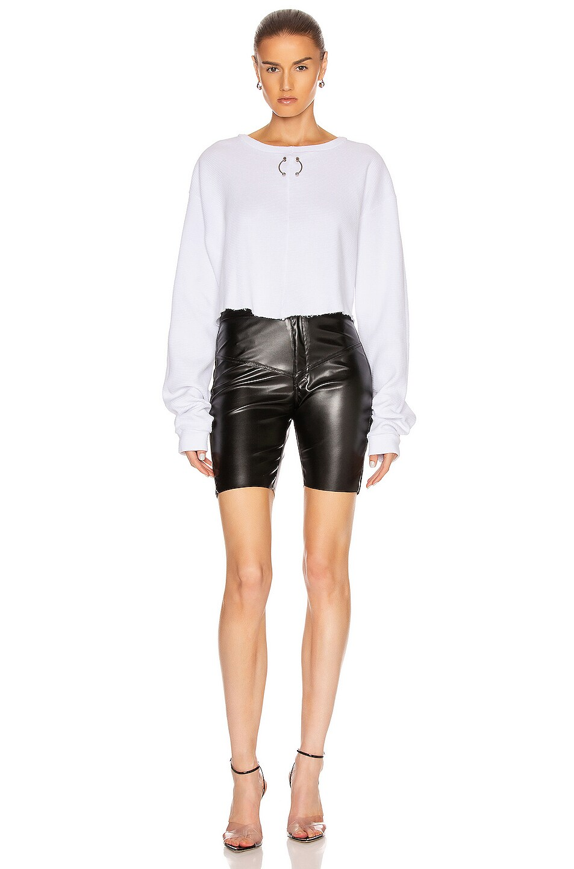 Image 4 of Frankie B Gwen Bull Ring Thermal Shirt in White