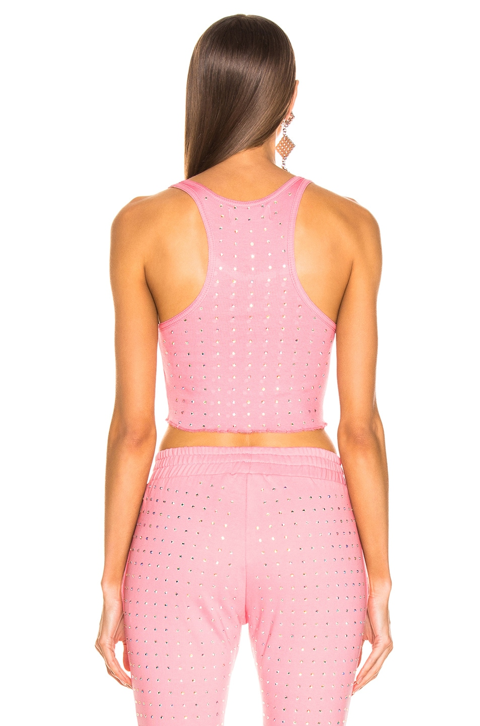 Image 3 of Frankie B All Over Rhinestone Crop Tank in Pink