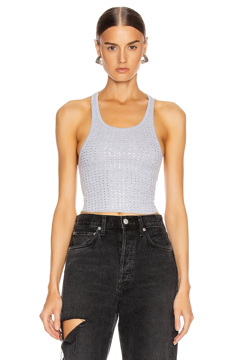 Image 1 of Frankie B Sade Crystals Cropped Tank Top in Heather Grey